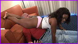 Rear headscissors squeeze by ebony dominatrix GoddessMax.